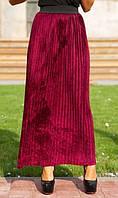 Велюровая юбка плиссе марсала