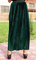 Велюровая юбка плиссе зеленая