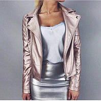 Женская кожаная куртка ZARA пудрового цвета 8П97