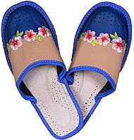 """Тапочки домашние женские кожаные """"Цветы"""" голубые"""
