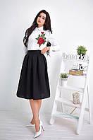 Костюм женский белая рубашка с вышивкой и пышная юбка миди Ks534