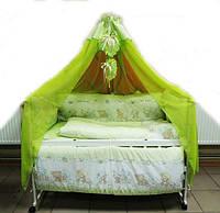 """Постельный набор в детскую кроватку """"Bonna Comfort"""" Мишульки детки  салатового цвета"""