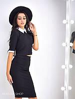 Костюм женский топ с рубашечным воротником и юбка карандаш кукуруза разные цвета Kb236