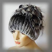Меховая шапка из Rex Rabbit, серая (водопад)