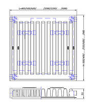 Радиатор ТИП 11 РК E.C.A. 500×600 НП, фото 3