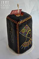 Прямоугольная черная свеча с росписью акрилом от ELITE CANDLES