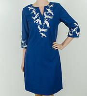 Вышитое женское платье Журавли синее, фото 1