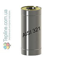 Труба-сэндвич дымоходная d 140 мм; 1 мм; AISI 321; 1 метр; нержавейка/оцинковка - «Вент-Устрий»