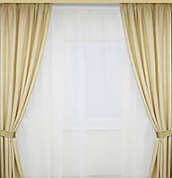 Шторы на окна комплект с ткаи шанзализе матовые