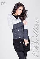 Вязаное женское пальто с шарфом