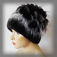 Меховая шапка из Rex Rabbit, серо-черная (водопад)