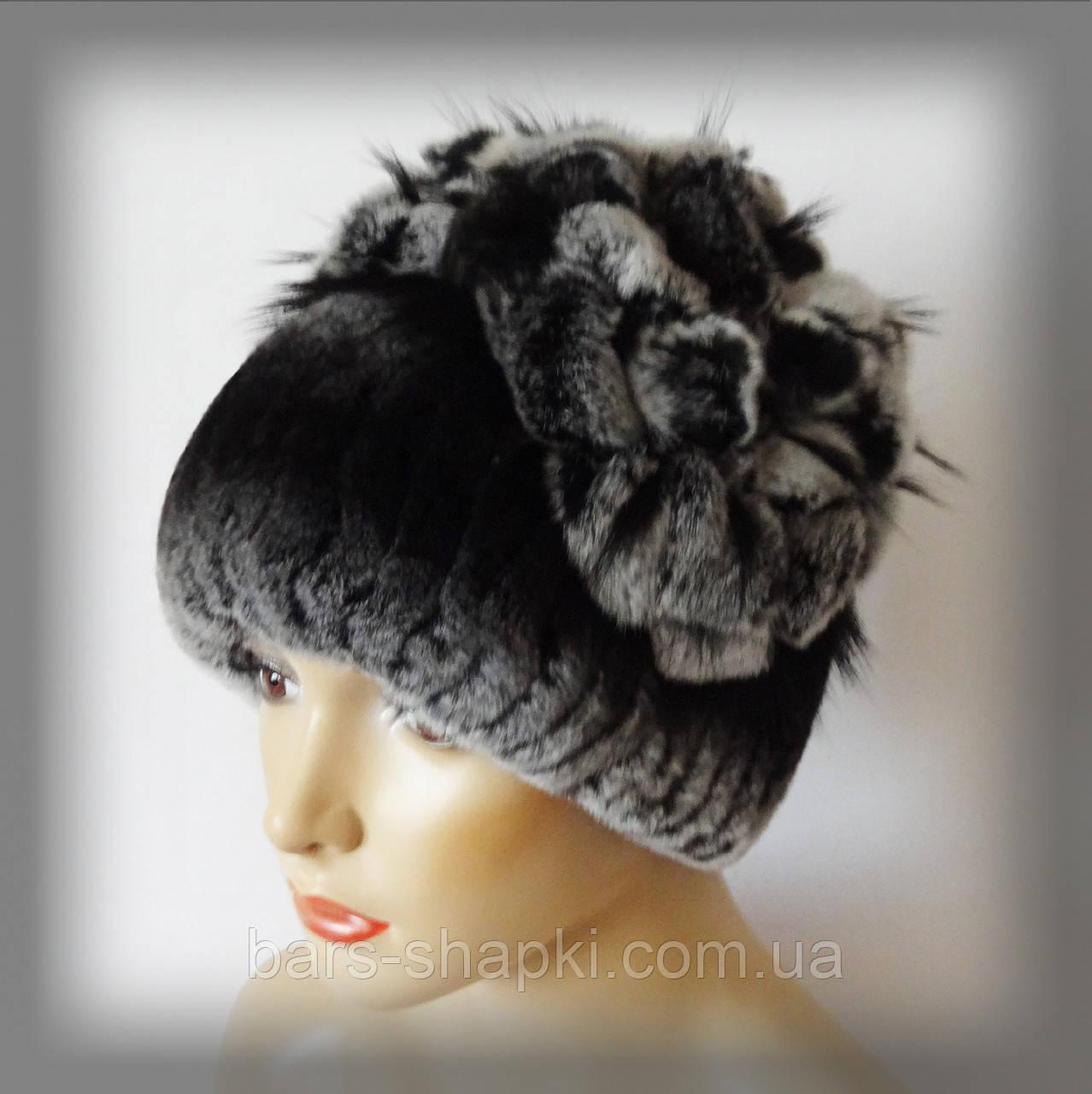 Меховая шапка из Rex Rabbit, тёмно-серая (водопад)