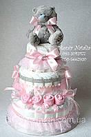 """Подарок Новорожденной девочке. Торт из памперсов """"Наша розочка"""". 90 штук."""