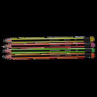 Карандаш Buromax с резинкой, черно-бордовый NEON