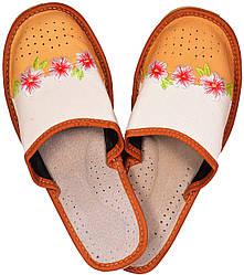 """Тапочки комнатные женские кожаные """"Цветы"""" оранжевые"""