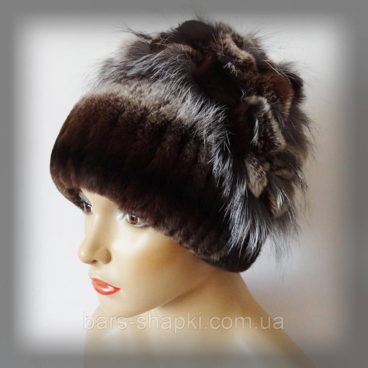 Меховая шапка из Rex Rabbit, коричневая (водопад)