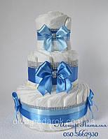 Торт из памперсов Голубой бриллиант 40 штук