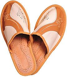 """Тапочки домашние женские кожаные """"Линия"""" коричневые"""