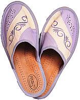 """Тапочки домашние женские кожаные """"Линия"""" фиолетовые"""