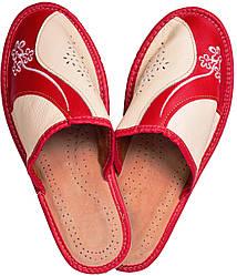 """Тапочки комнатные женские кожаные """"Линия"""" красные"""