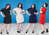 Платье со вставками гипюра, батал. 4 цвета. Р-ры: 50, 52, 54, 56.