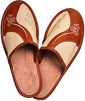 """Тапочки домашние женские кожаные """"Линия"""" темно-коричневые"""