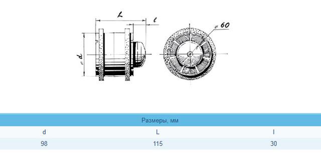 размер вентилятора BLAUBERG Tubo 100