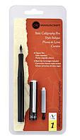 Набор для каллиграфии, Italic Calligraphy Pen Medium (перо, черный картридж, конвертер) , Manuscript