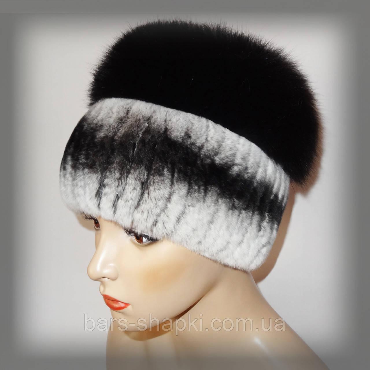 Меховая шапка из комбинированного меха Rex Rabbit и чернобурки  (серо-черная)) 29bfb173fb8a0