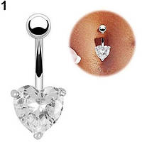 Пирсинг, сережка для пупка, украшенная горным хрусталем в форме сердца, цвет серебро + белый камень, фото 1