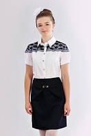 Школьная белая блуза для девочки подростка с гипюром