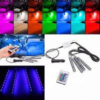 Подсветка салона автомобиля RGB с ДУ. LED Цветная подсветка для авто водонепроницаемая RGB. 4 Ленты, фото 1