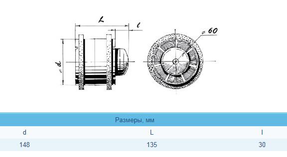 размер вентилятора BLAUBERG Tubo 150 T