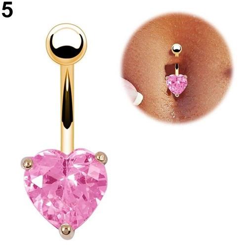 Пирсинг, сережка для пупка, украшенная горным хрусталем в форме сердца, цвет золото + розовый камень