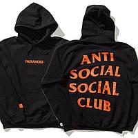Худи Anti Social Social Club (Анти Социал Социал Клаб), Paranoid оранжевая надпись