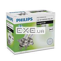 Лампа галогенная Philips H4 LongLife, 2шт/ картон (12342ELC2)