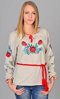 Женская сорочка вышиванка Васильковый цвет лен