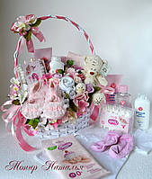 Корзина в роддом с вещами и косметикой новорожденному