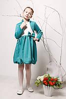 Детский комплект: платье и болеро р. 116 для девочки ткань ТРИКОТАЖ 3751 Зеленый