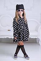 Модное платье-рубашка для девочки в школу,в горошек,высокое качество