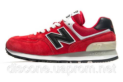 Кроссовки New Balance 574 замша, красные, унисекс