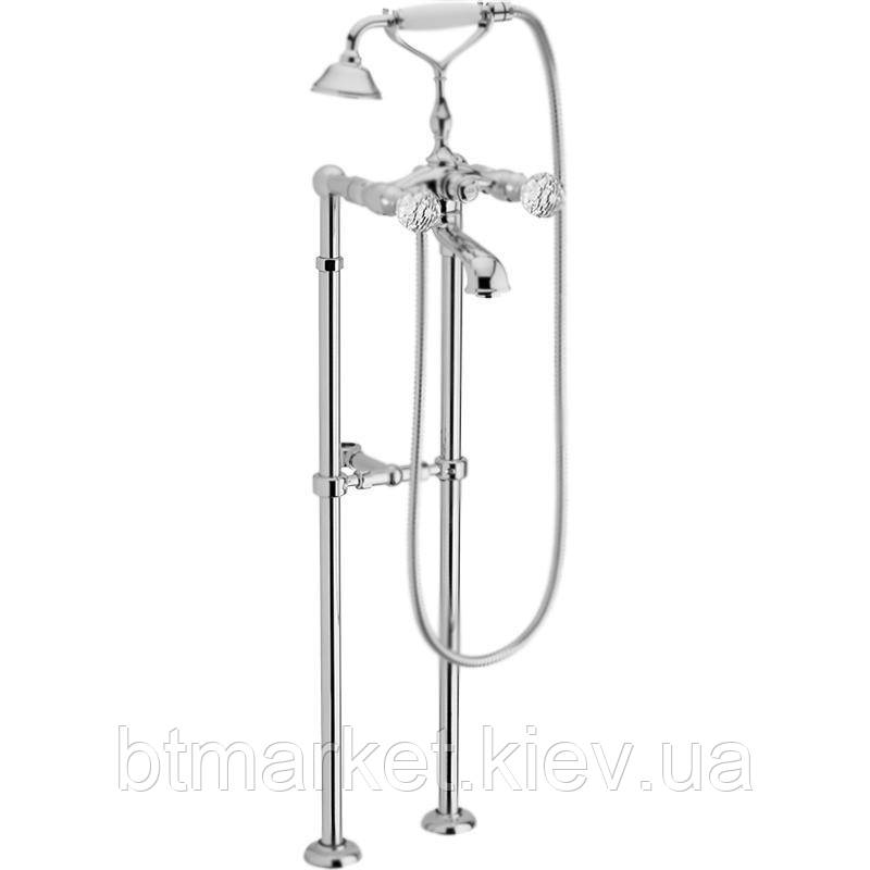 Смеситель для ванны Webert Karenina напольный Swarovsky (зхром) KA720801015