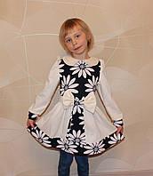 Детское платье с поясом р. 104 для девочки ткань ТРИКОТАЖ 3755 Белый