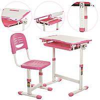 Парта B 203-2 регулир-я высота и наклон(до 40 °), с рег.стул., выдвижной ящик, розовая