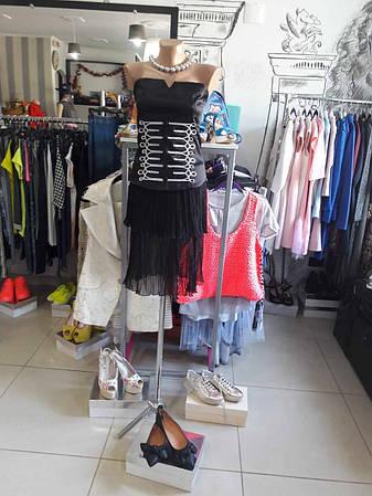 Женская юбка черная двухярусная шифоновая летняя Дизайнерская, фото 2