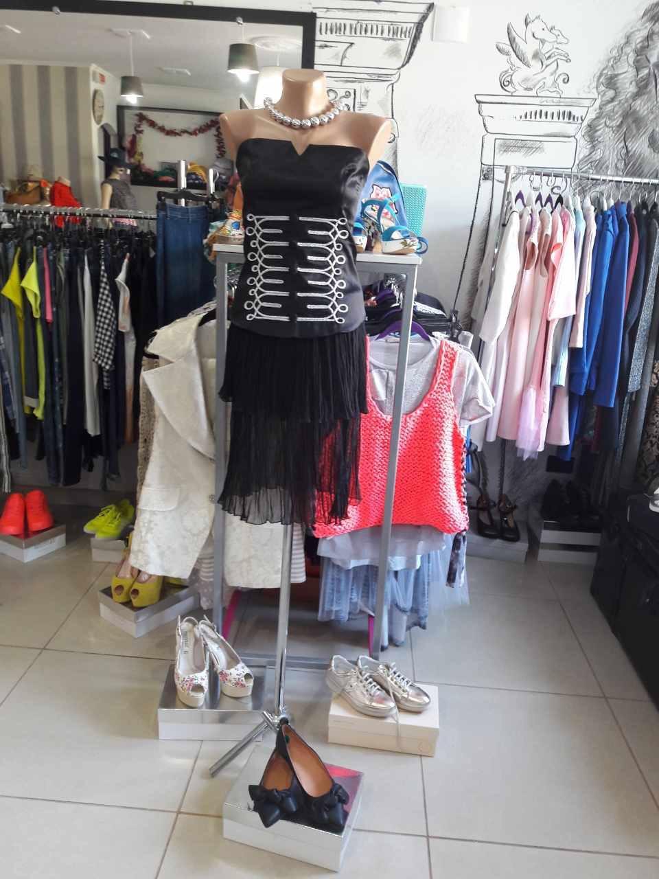 Женская юбка черная двухярусная шифоновая летняя Дизайнерская