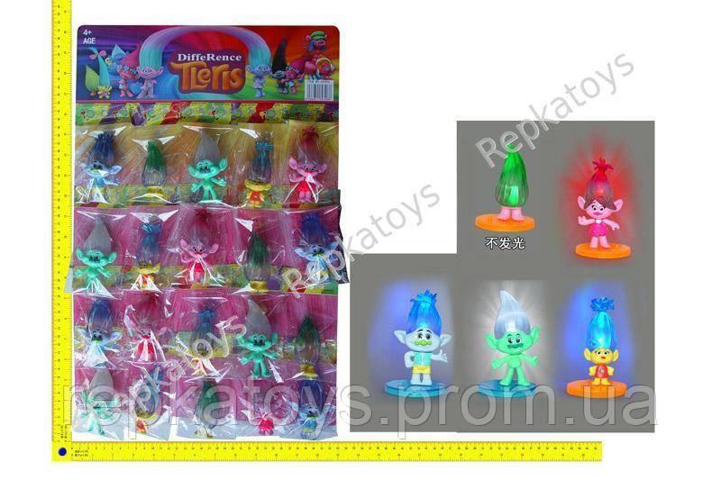 Фигурки ТРОЛЛИ(Trolls) светятся, на листе, 20 шт. в упаковке(цена за 1 шт.) (ОПТОМ) 69306A - Repkatoys в Одессе
