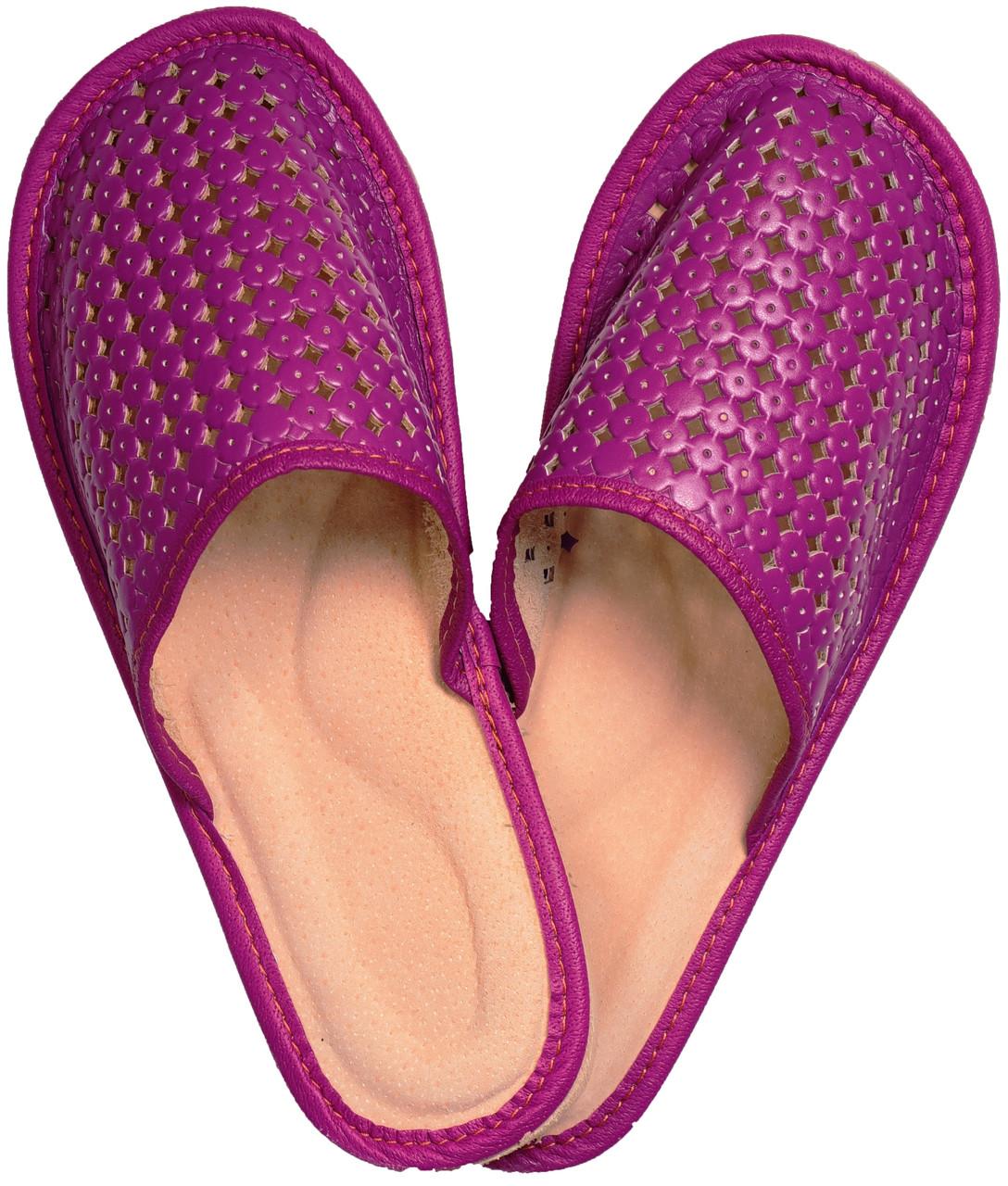 """Тапочки домашние женские кожаные """"Крапелька"""" фиолетовые"""