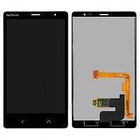 Дисплей (экран) для Nokia X2 Dual Sim (RM-1013) + с сенсором (тачскрином) черный Оригинал