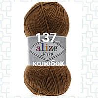 Пряжа для ручного и машинного  вязания Alize EXTRA (Экстра) акрил 137 табачно коричневый